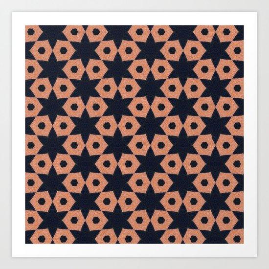 corail and black fabric Art Print