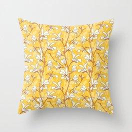 White Magnolias on Yellow Throw Pillow