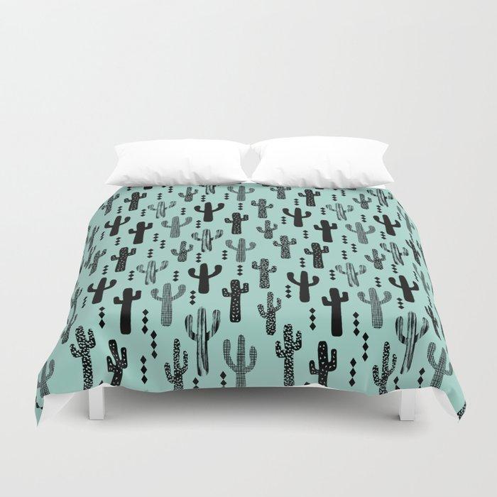 Cactus pattern print mint black minimal geometric modern illustration desert southwest nature Duvet Cover