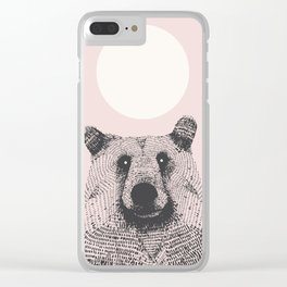 Bear in pink Clear iPhone Case