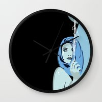 cigarettes Wall Clocks featuring Genevieve & Cigarettes  by Andrew Formosa