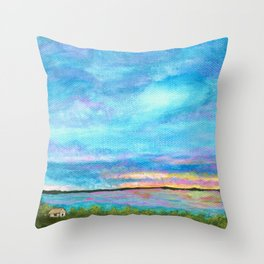 Good Morning, Beach House Sunrise Throw Pillow