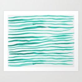 Irregular watercolor lines - turquoise Art Print
