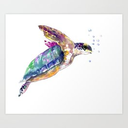 Hawaiian Sea Turtle, swimming turtle bathroom design Art Print