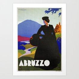 Abruzzo Italian travel Lady on a walk Art Print
