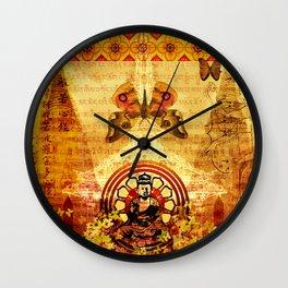 Buddha and Butterflies Wall Clock