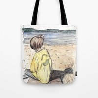 cape cod Tote Bags featuring Cape Cod by Katerina Skassi