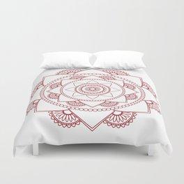 Mandala 01 - Burgundy on White Duvet Cover