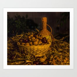 Still-life with nuts and wine Art Print