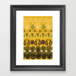 lotus block vintage gold Framed Art Print