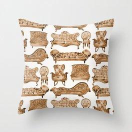 Victorian Lounge – Sepia Palette Throw Pillow