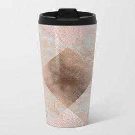 Copper and Blush Rose Gold Marble Gingham Metal Travel Mug
