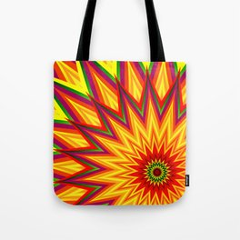 Fractal Sunflower Colorful Abstract Floral Tote Bag