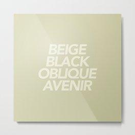 MetaType Beige Metal Print