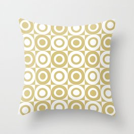 Mid Century Square and Circle Pattern 541 Gold Throw Pillow