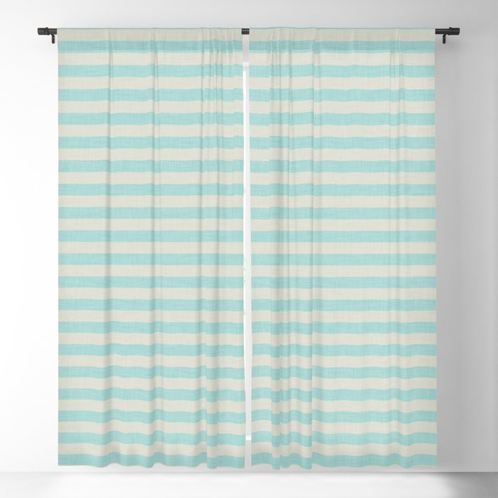 Stripes blue and beige #homedecor Blackout Curtain