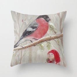 Bullfinch and Gnome-girl - Christmas Throw Pillow