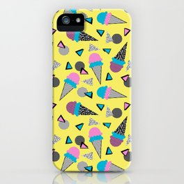 Cruncher - memphis throwback ice cream cone desert 1980s 80s style retro geometric neon pop art iPhone Case