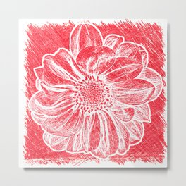 White Flower On Crayon Red Metal Print