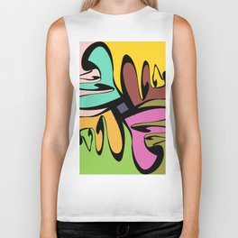 Four Faces Abstract Biker Tank