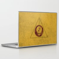 deathly hallows Laptop & iPad Skins featuring Grateful Deathly Hallows by jerbing