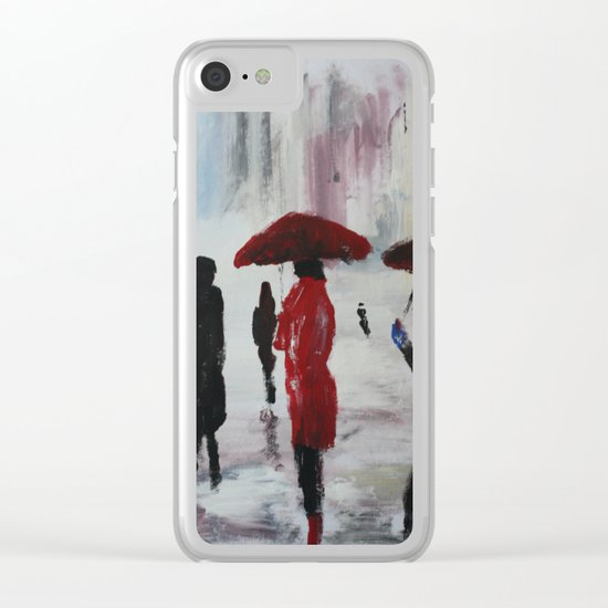 The Girl With The Red Umbrella Impressionist Fine Art Clear iPhone Case