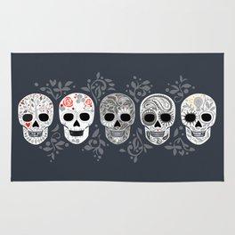 Celebracion de Gris_Calaveras Sugar Skulls line_RobinPickens Rug
