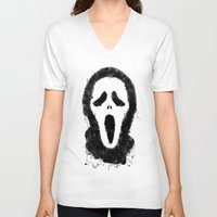scream V-neck T-shirts featuring Scream by Bill Pyle