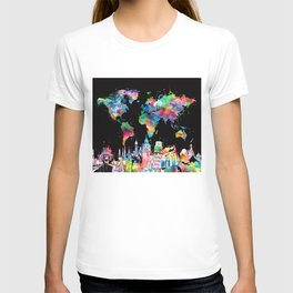 world map city skyline 3 T-shirt