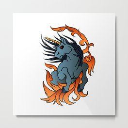 unicorn old school tattoo. Metal Print