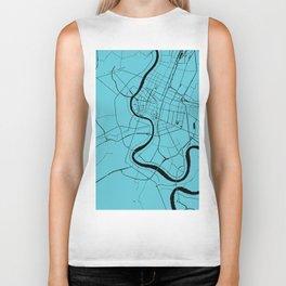 Bangkok Thailand Minimal Street Map - Turquoise and Black Biker Tank