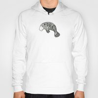 manatee Hoodies featuring Blue Manatee by Casey Virata