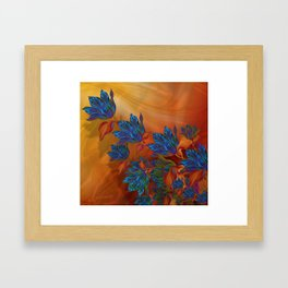 """Blue flowers on orange silk"" (Air Spring at night) Framed Art Print"