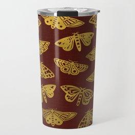 Golden Moths in Red Travel Mug