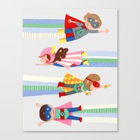 superheroes Canvas Prints featuring Superheroes  by ilana exelby