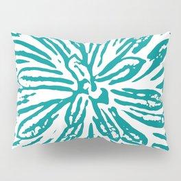 Blue Linocut Flower Textile Pillow Sham
