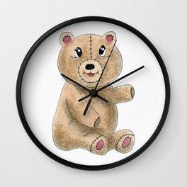 Teddy bear watercolor painting Wall Clock