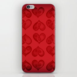 'Off With His Head Red Hearts Pattern' Wonderland styled design by Dark Decors iPhone Skin