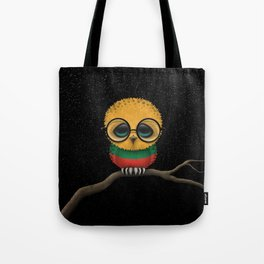 Baby Owl with Glasses and Lithuanian Flag Tote Bag