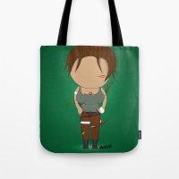 lara croft Tote Bags featuring Minimalist lara croft by Monkey graphisme