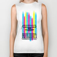 typewriter Biker Tanks featuring Typewriter by Elizabeth Cakovan