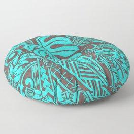 Teal Polynesian Tropical Leaf Design Floor Pillow