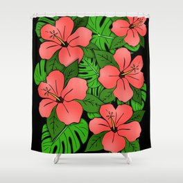 Hibiscus & Monstera Shower Curtain