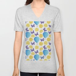 Modern yellow blue violet watercolor floral butterfly pattern Unisex V-Neck