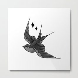 Swallow Flash - mono Metal Print