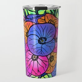 Colourful Flowers and Leaves Travel Mug