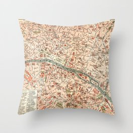 Vintage Map of Paris Throw Pillow