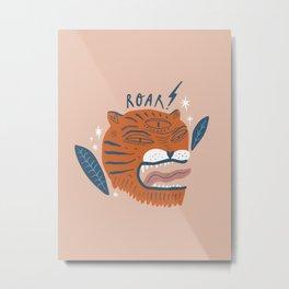 Mid Century Magic Cool Mighty Orange Tiger Roar Illustration Funky Tribal Leaves Children's Art Metal Print