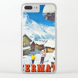 Zermatt, Switzerland Vintage Ski Travel Poster Clear iPhone Case