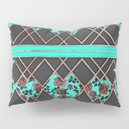 Modern Elegant Rose Gold Triangles and Teal Roses Pillow Sham